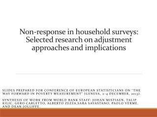 Non-response in household surveys:  Selected research on adjustment approaches and implications
