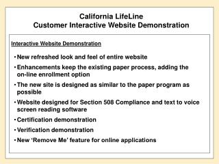 California LifeLine Customer Interactive Website Demonstration