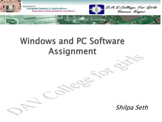 Windows and PC Software Assignment
