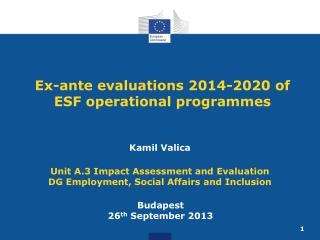 Ex-ante evaluations 2014-2020 of ESF operational programmes