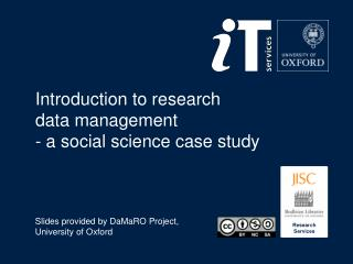 Introduction to  r esearch  data management - a social science case study