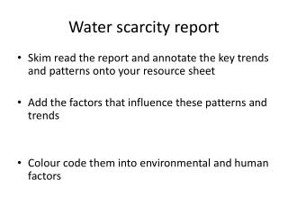 Water scarcity report