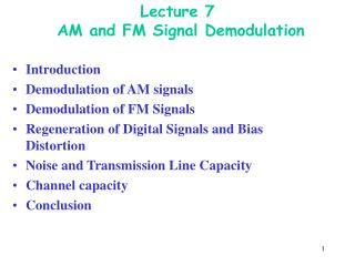Lecture 7  AM and FM Signal Demodulation