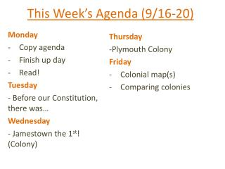 This Week's Agenda (9/16-20)
