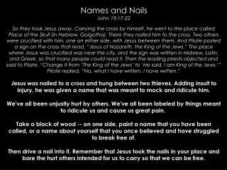Names and Nails John 19:17-22