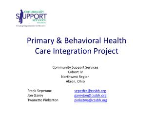 Primary & Behavioral Health Care Integration Project
