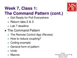 Week 7, Class 1: The Command Pattern (cont.)