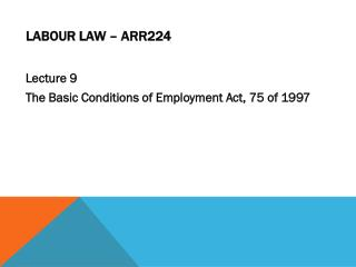 Labour Law – ARR224