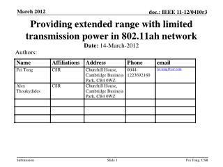Providing extended range with limited transmission power in 802.11ah network