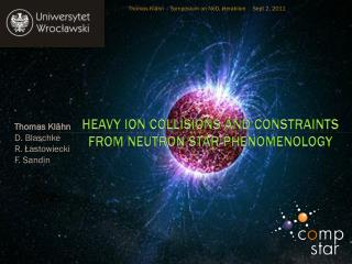 Heavy Ion Collisions and constraints from Neutron Star Phenomenology
