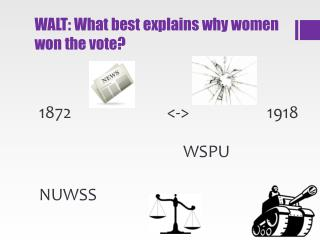 WALT: What best explains why women won the vote?