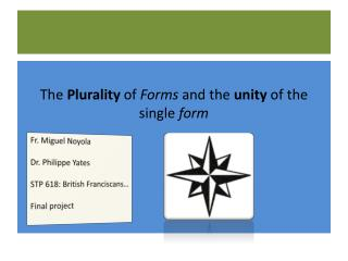 The  Plurality  of  Forms  and the  unity  of the single  form