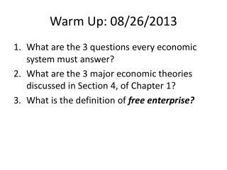 Warm Up: 08/26/2013