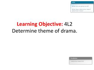 Learning Objective:  4L2 Determine theme of  drama.