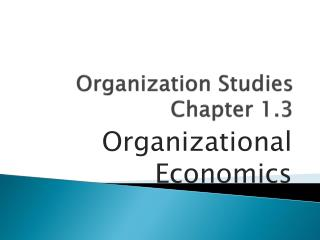 Organization Studies Chapter 1.3