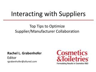 Interacting with Suppliers