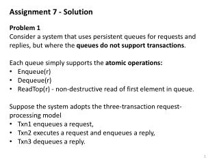 Assignment  7  - Solution Problem  1