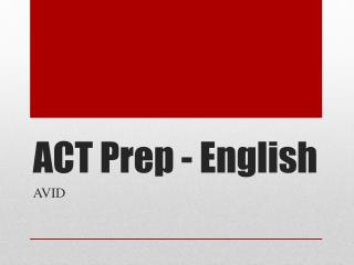 ACT  Prep - English
