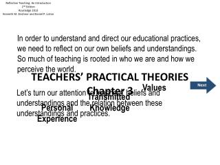 TEACHERS' PRACTICAL THEORIES  Chapter  3