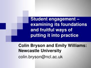 Student engagement � examining its foundations and fruitful ways of putting it into practice