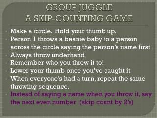 GROUP  JUGGLE   A SKIP-COUNTING GAME