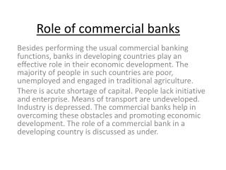 Role of commercial banks