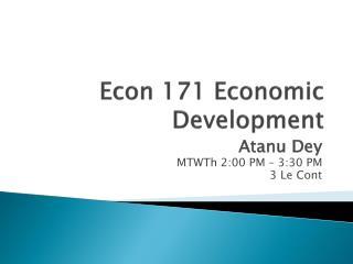 Econ 171 Economic Development