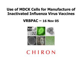 Use of MDCK Cells for Manufacture of Inactivated Influenza Virus Vaccines  VRBPAC   16 Nov 05