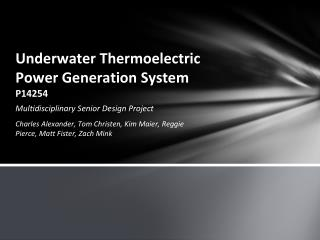 Underwater Thermoelectric Power Generation System P14254