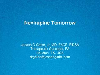 Nevirapine Tomorrow