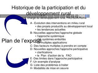 Historique de la participation et du d veloppement rural Jean Bonnal, charg  du d veloppement rural, FAO