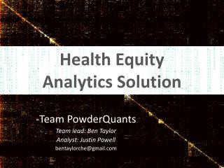 Health Equity  Analytics Solution