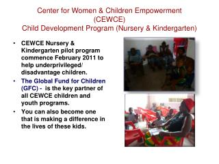 Center for Women & Children Empowerment (CEWCE) Child Development Program (Nursery & Kindergarten)