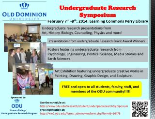 Undergraduate Research Symposium February 7 th  -8 th ,  2014; Learning  Commons Perry Library