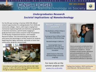 Undergraduates Research Societal Implications of Nanotechnology