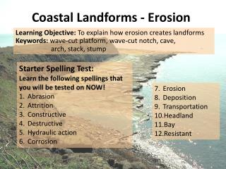 Coastal Landforms - Erosion