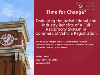 Jeremy  Sage, Freight Policy Transportation Institute