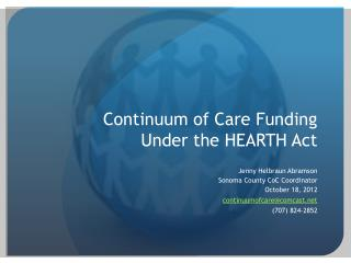 Continuum of Care Funding Under the HEARTH Act