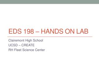 EDS 198 – Hands on lab