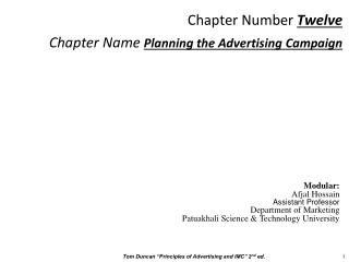 Chapter Number  Twelve Chapter Name  Planning the Advertising Campaign