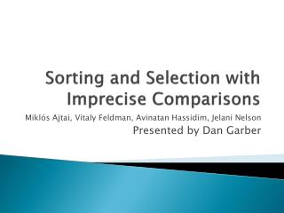 Sorting and Selection with Imprecise Comparisons