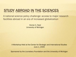 Study ABROAD in the sciences