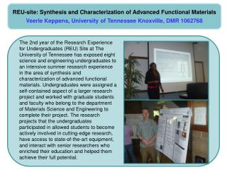 REU-site: Synthesis and Characterization of Advanced Functional  Materials