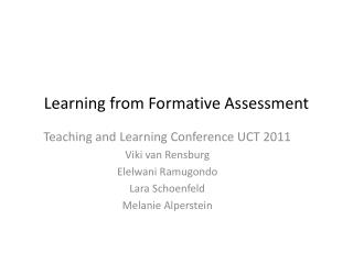 Learning from Formative Assessment