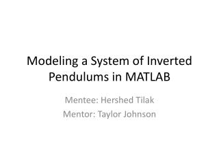 Modeling a System of Inverted Pendulums in MATLAB