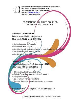 FORMATIONS POUR LES COUPLES SESSIONS AUTOMNE 2013