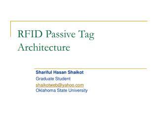RFID Passive Tag Architecture