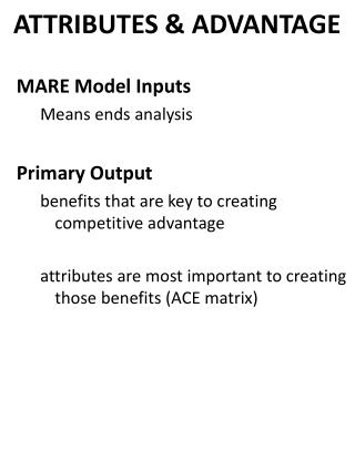 MARE Model Inputs Means ends analysis  Primary Output