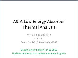 ASTA Low Energy Absorber Thermal Analysis