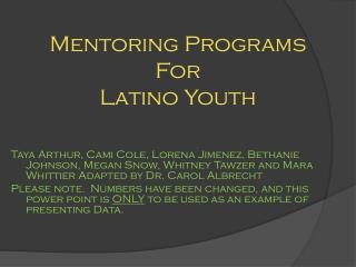 Mentoring Programs For Latino Youth